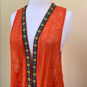 Umgee Long Crochet Orange Boho Sleeveless Dustser